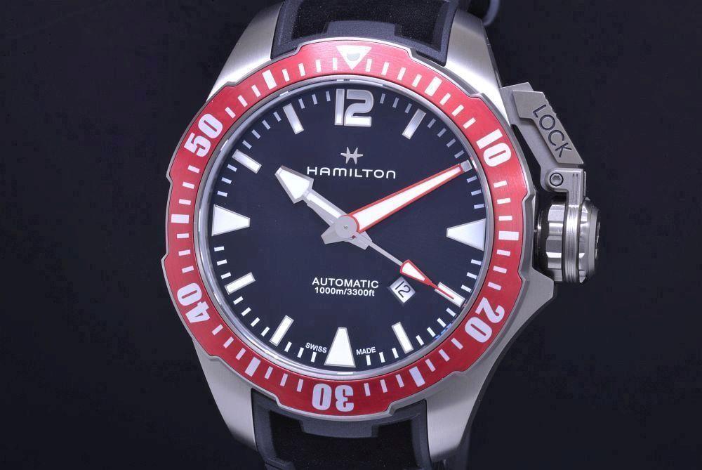 ハミルトン H77805335 カーキ ネイビー オープンウォーター チタニウム メンズ オートマ ダイバー 黒文字盤【正規・新品】