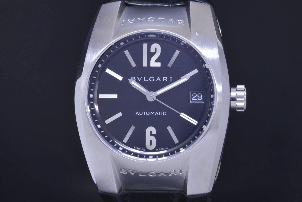 ブルガリ EG35BSLD エルゴン 35mm ボーイズ SS/レザー オートマ EG35S 黒文字盤【ユニセックス】