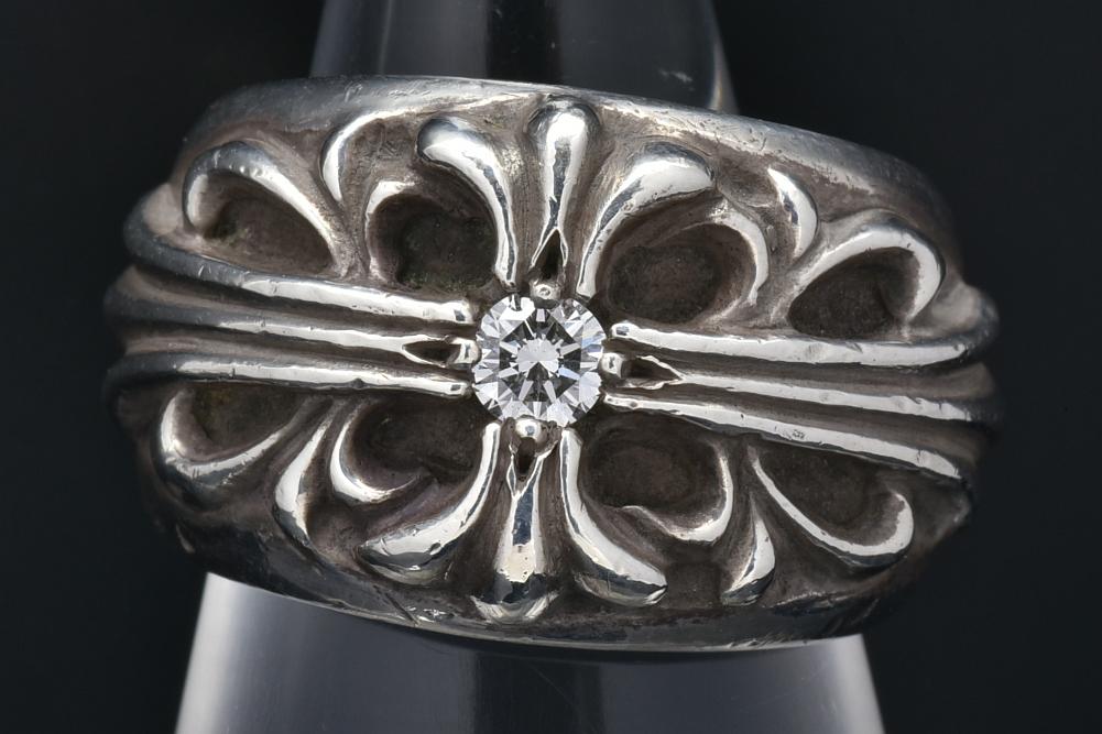 クロムハーツ フローラル クロス ダイヤ リング #8 シルバー SV925 ダイヤ1P 2364-304-0500-9106