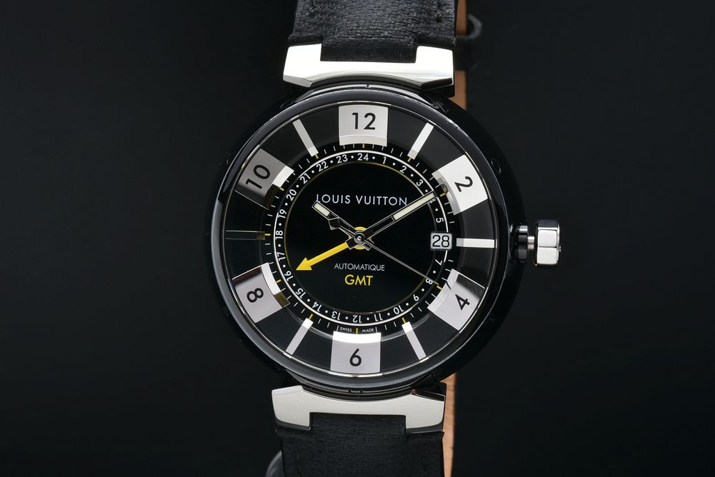 ヴィトン Q113K タンブール イン ブラック GMT メンズ SS/レザー PVD オートマ 黒文字盤