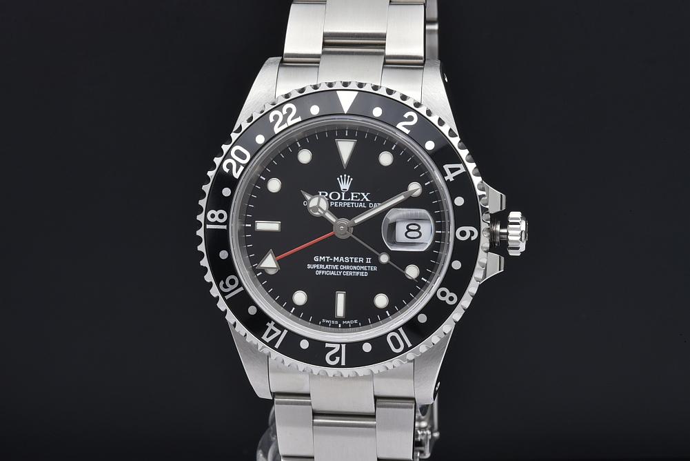 ロレックス 16710 オイスターパーペチュアル GMTマスター2 メンズ SS オートマ 黒/黒ベゼル K番【OH済】