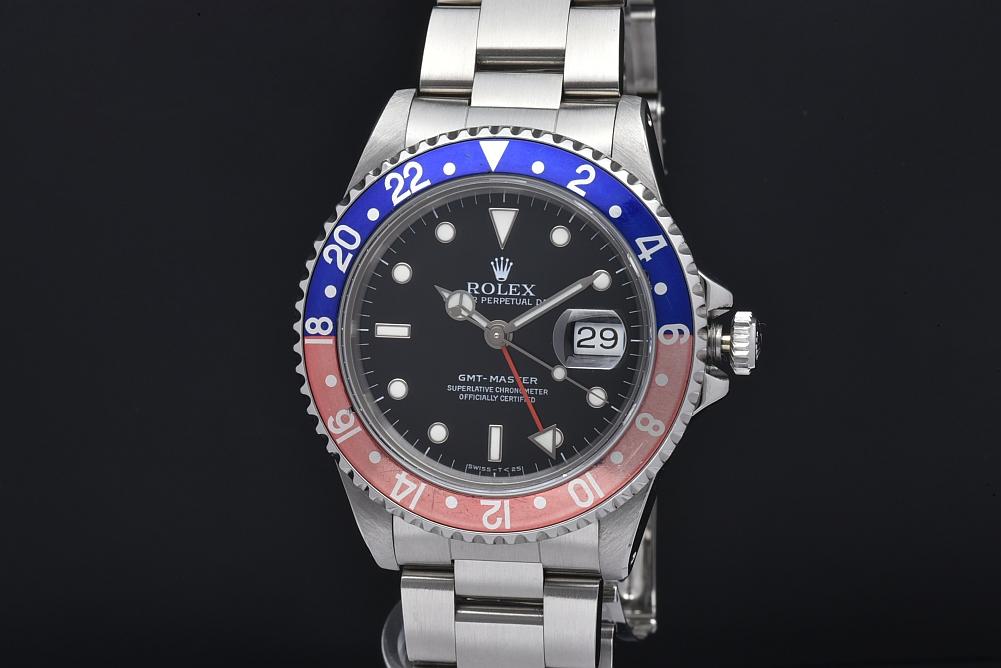 ロレックス 16700 オイスターパーペチュアルデイト GMTマスター1 赤青ベゼル メンズ SS オートマ X番 トリチウム【OH済】