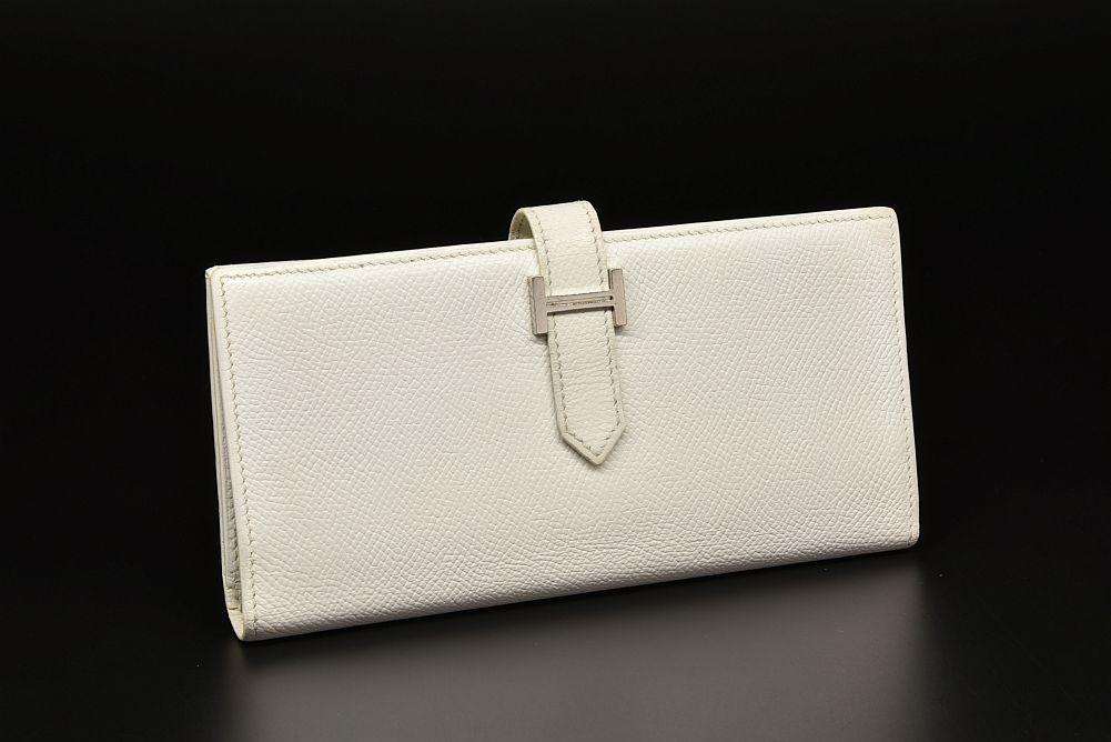 エルメス ベアン 2PLIS デュプリ 三つ折り長財布 エプソン ホワイト シルバー金具 K刻印