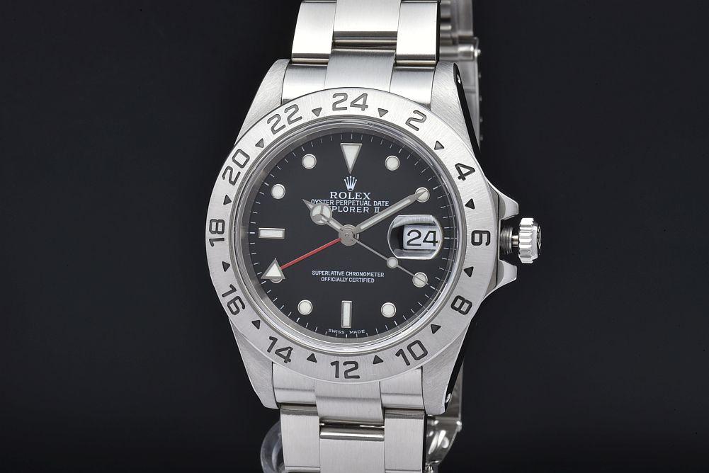 ロレックス 16570 オイスターパーペチュアル エクスプローラー2 メンズ GMT SS オートマ EX2 黒文字盤 A番【OH済】