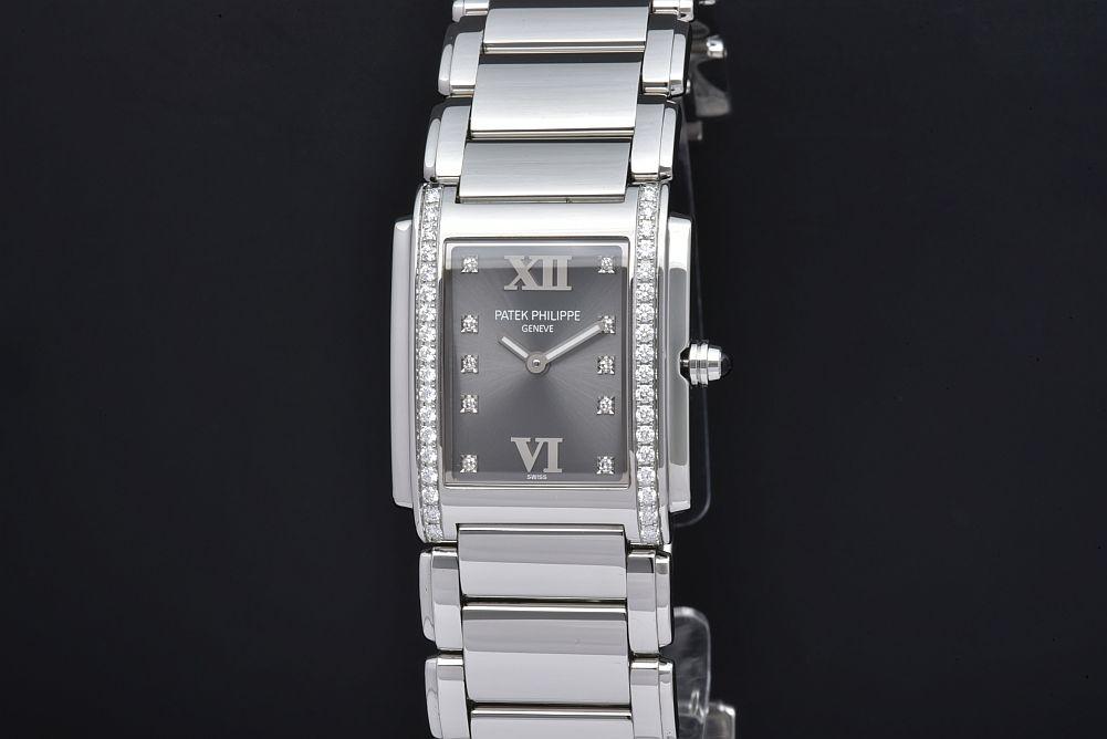 パテックフィリップ 4910/10A-010 トゥエンティフォー 24 レディース SS クォーツ E15 ダイヤベゼル ダイヤ10Pグレー文字盤