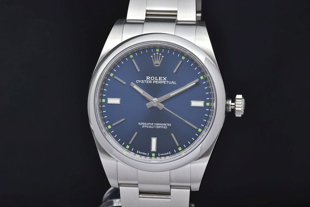 ロレックス 114300 オイスターパーペチュアル 39 メンズ SS オートマ ブルー文字盤 ランダム【正規品】