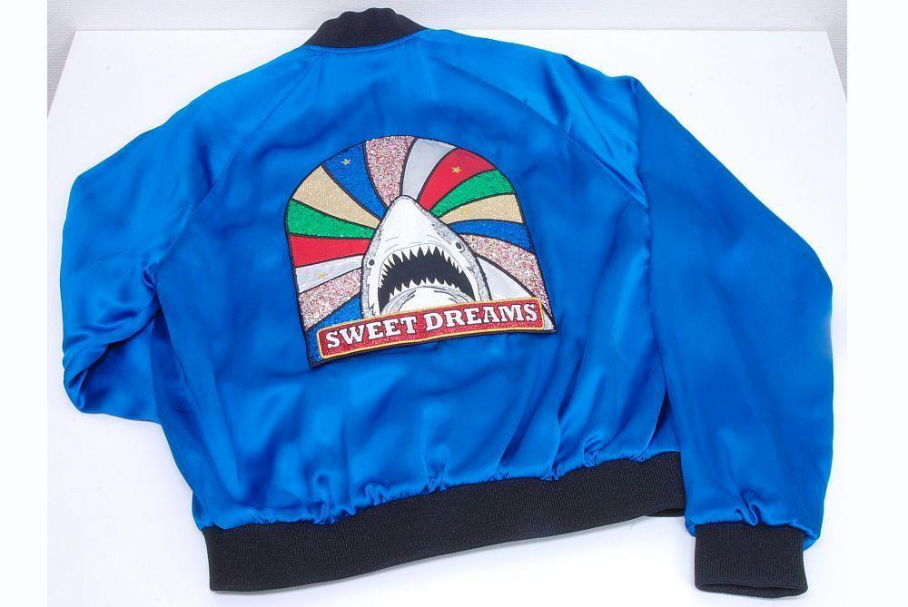 サンローラン SAINT LAURENT スイートドリームズ シャークパッチ ジャケット スカジャン ブルーサテン メンズ #44【新品同様】