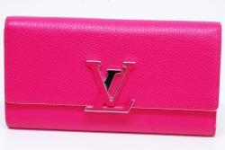 ヴィトン ポルトフォイユ カプシーヌ LVロゴ 二つ折長財布 ホットピンク M62367