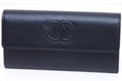 シャネル ココマーク レザー フラップウォレット 二つ折り長財布 ブラック A50070【新品】