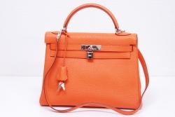 エルメス ケリー32 ハンドバッグ 2WAY ショルダーバッグ トリヨン オレンジ シルバー金具 内縫い『H』【新品同様】