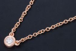 ティファニー ダイヤモンド バイザヤード ペンダント ネックレス K18RG ローズゴールド ダイヤ 0.03ct【正規品・新品同様】