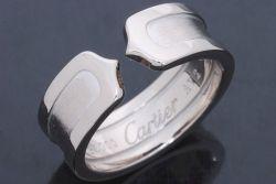 カルティエ 2C ロゴリング C2リング SM K18WG ホワイトゴールド #50 4040500
