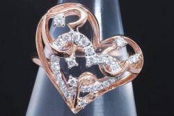 ポンテヴェキオ PV ハートモチーフ ダイヤモンド リング K18PG ピンクゴールド ダイヤ0.27ct 11号【美品】