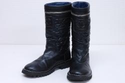シャネル コココクーン ココマーク マトラッセ ナイロン レザー ブーツ 35 1/2 22.5-23cm ブラック IG26537