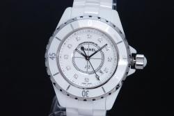 シャネル H1628 J12 ホワイト ハイテクセラミック 12Pダイヤモンド レディース クォーツ 33mm 白