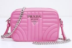 プラダ ダイアグラム クロスボディーバッグ チェーンショルダーバッグ ピンク 1BH084【正規品・新品】