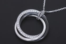 カルティエ トリニティ ネックレス ペンダント K18WG ホワイトゴールド ブラックセラミック ダイヤモンド B3045500【正規品・新品同様】