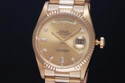 ロレックス 18238A デイデイト 10Pダイヤ シャンパン K18YG 金無垢 メンズ オートマ W番【正規品・OH済】