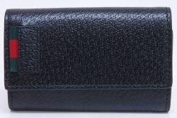 グッチ ウェブストライプ レザー 6本キーケース ブラック 435297【未使用】