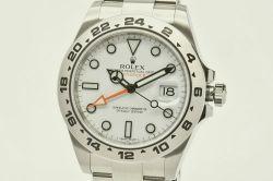 ロレックス 216570 オイスターパーペチュアル エクスプローラー2 GMT ホワイト メンズ SS オートマ 白文字盤 G番【OH済・正規品】