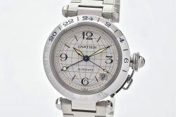 カルティエ W31029M7 パシャC メリディアン GMT ユニセックス SS オートマ シルバー文字盤【OH済】