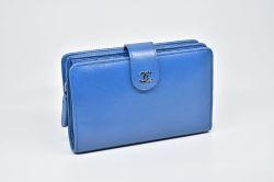 シャネル セブルガ ココマーク 二つ折り ファスナー財布 ブルー A50170【美品】