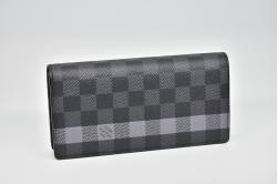 ヴィトン ダミエ グラフィット ストライプ ポルトフォイユ ブラザ 二つ折り長財布 N63307【未使用】