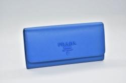 プラダ  サフィアーノ PRADAロゴ 二つ折り長財布 パスケース付 ブルー 1MH132【正規・新品】