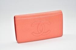シャネル キャビアスキン ココマーク 二つ折り長財布 オレンジ A48651