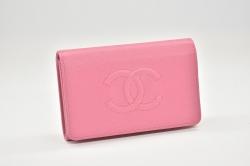 シャネル ココマーク レザー フラップウォレット 三つ折り財布 ピンク A70800【新品同様】
