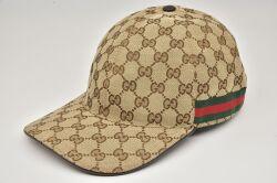 グッチ GUCCI GGキャンバス キャップ 帽子 Lサイズ コットン ベージュ/エボニー ウェブライン 200035