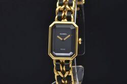 シャネル プルミエール H0001 レディース GP/レザー クォーツ ウォッチ Mサイズ 黒文字盤