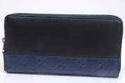 グッチ レザー ジップアラウンドウォレット GG柄 ラウンドファスナー長財布 ブラック ネイビー 408839
