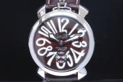 ガガミラノ 5010.13S マヌアーレ 48mm メンズ SS/レザー 手巻き ブラウン文字盤【新品同様】