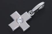 カルティエ クロス ダイヤモンド チャーム ペンダント K18WG ホワイトゴールド 1Pダイヤ B3007700【美品】