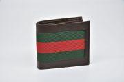 グッチ ウェブ レザー 小銭入付き 二つ折り財布 コインウォレット ダークブラウン 245768【未使用】