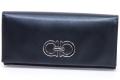 フェラガモ ガンチーニ レザー 二つ折り長財布 22-B481 ブラック 【未使用】