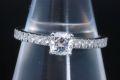 ティファニー ノヴォ ダイヤモンド リング PT950 スクエアクッションカット ダイヤ 0.39ct F-VVS2-VG【鑑定書付】