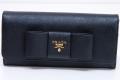 プラダ サフィアーノ リボン 二つ折長財布 ブラック 1MH132 ZTM F0002【美品】