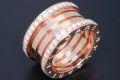 ブルガリ ビーゼロワン リング パヴェダイヤモンド B-ZERO1 (M) K18PG ピンクゴールド 4バンドリング #52 AN856293【ギャラ付・新品同様】