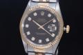 ロレックス 16233G デイトジャスト 10Pダイヤ 黒文字盤 メンズ オートマ W番【日本ロレックスOH済】