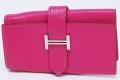 エルメス ベアン 4本キーケース シェーブル ピンク シルバー金具 『J』刻印
