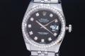 ロレックス 116244G デイトジャスト ダイヤベゼル 10Pダイヤ 黒文字盤 メンズ SS/WG オートマ V番