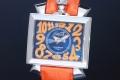 ガガミラノ 6000.4 ナポレオーネ 48MM メンズ SS/オレンジレザー オートマ 裏スケ ブルー文字盤