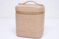 シャネル キャビアスキン バニティバッグ 縦型 ハンドバッグ 化粧ポーチ ベージュ A01998