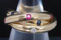 カルティエ トリニティ リング ダイヤモンド ルビー サファイア K18YG イエローゴールド #51【正規品・ギャラ付】