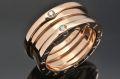 ブルガリ B-ZERO1 ビーゼロワン 3バンドリング (S) 4Pダイヤ K18PG ピンクゴールド #54 【日本限定・新品同様】