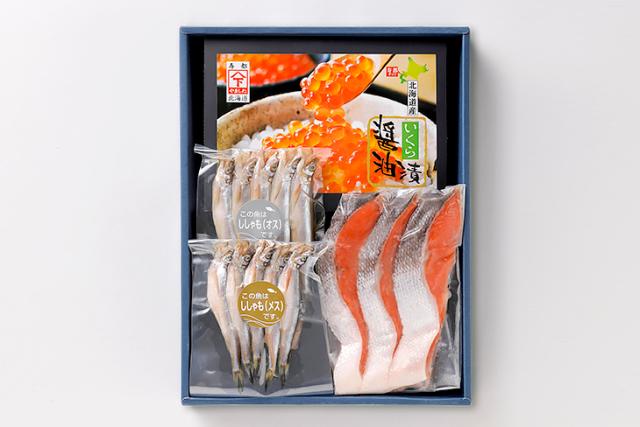 いくらと紅鮭とししゃもセットパッケージ