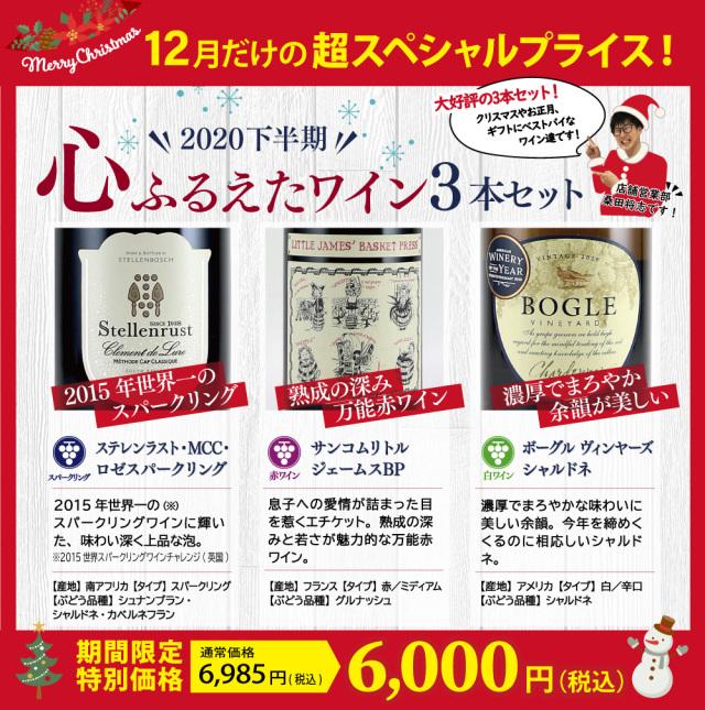 【2020下半期】心ふるえたワイン3本セット(スパークリングワイン 750ml×1本、赤ワイン 750ml×1本、白ワイン 750ml×1本)