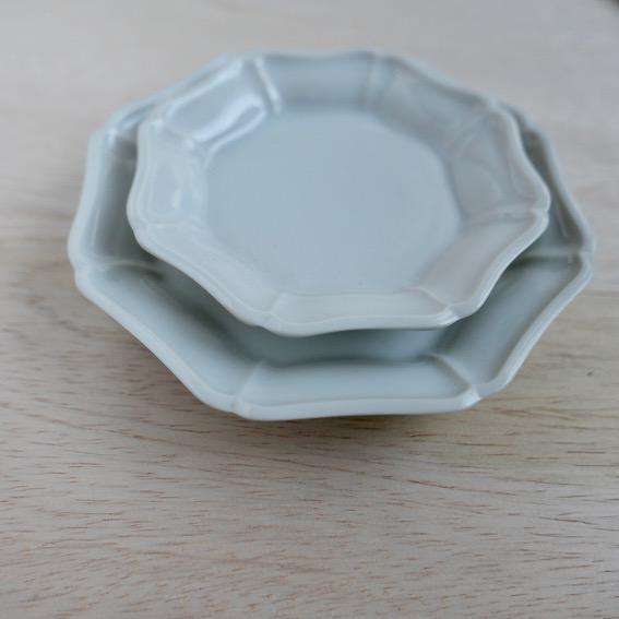 九谷の白 八角花皿